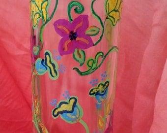 Hand painted floral recycled wine bottle decor signed /KarensArt