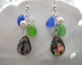 Blue Sea Glass Earrings Abalone Shell Chandelier Sterling Drops