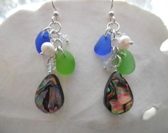 Blue Sea Glass Earrings Abalone Shell Chandelier Sterling Drops