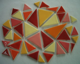 41PJ - 41 pc COLORFUL TRIANGLES - Ceramic Mosaic Tiles Set