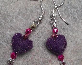 Sweetheart Earrings - cute felt and bead Valentine's Day earrings purple heart earrings heart earrings felt heart earrnigs