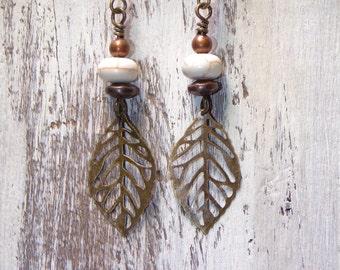Boho Earrings Brass White Turquoise Earrings Brass Leaf Earrings Dangle Metal Southwest Rustic Bohemian Earrings Jewelry Long Earrings