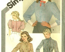 Victorian Styled Blouse, High Neckline Collared Shirt Sewing Pattern Simplicity 9796 Misses Womans Size 6, 8 Bust 30.5 31.5 Vintage 1980s