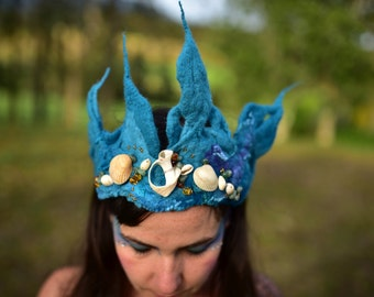 Mermaid Crown-Water Sprite Costume-Ocean Tiara-Shell Head Piece-Mermaid Costume-Festival Wear-Performance Costume-Glass Bead Tiara OOAK