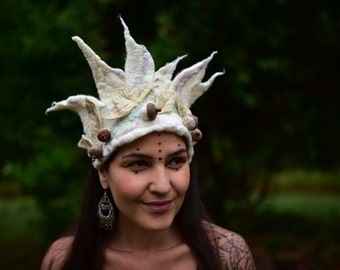 Felt Melted Mystical Snow Princess Woodland Forest Pixie Fairy Elven Crown Tiara Head Band With Acorns and Leaves OOAK