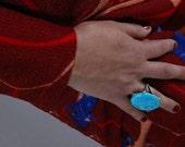 Handcrafted Turquoise Gemstone Ring, German Silver, Healing, Tribal, Ethnic, Communication, Throat Chakra, Spiritual Crystal Stone, Magic