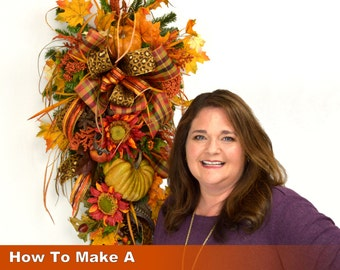 Video How To Make a Fall Teardrop Swag Wreath Full Length Downloadable Video, How to Make a Swag Wreath