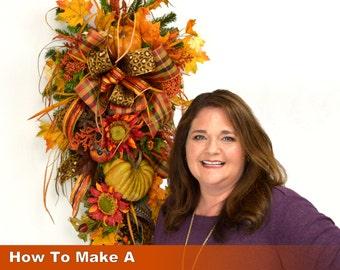 Video How To Make a Fall Teardrop Swag Wreath Full Length Downloadable Video, How to Make a Swag Wreath