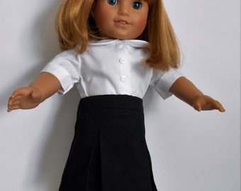 "Black school uniform skirt with white blouse fits 18"" dolls like American Girl"