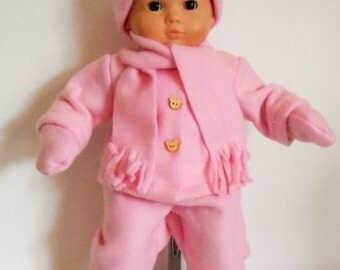 "Pink fleece snowsuit with hat, scarf,  boots and mitts for 15"" dolls like Bitty Baby"
