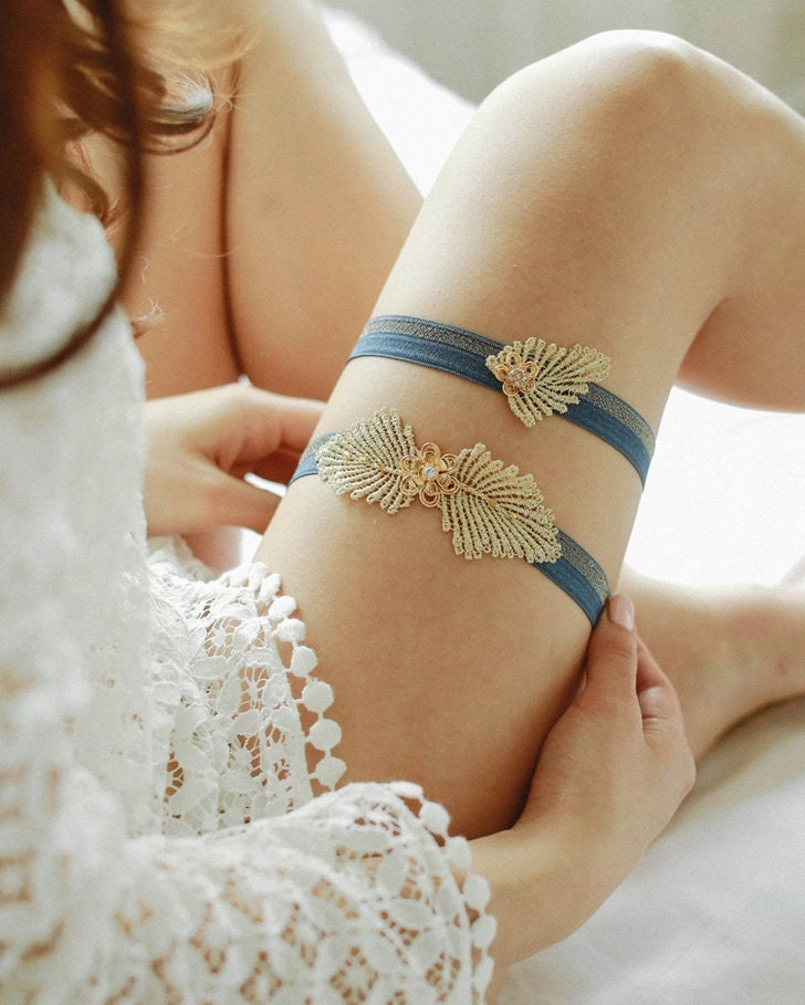 Gold Rhinestone Wedding Garter Navy Blue And Gold By