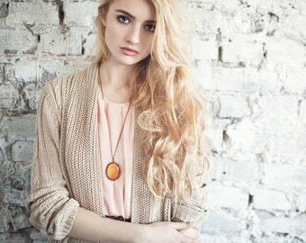 Orange Rose petal necklace - Rose necklace - Orange necklace - Large oval pendant - Flower jewelry - Bloom collection (N106)