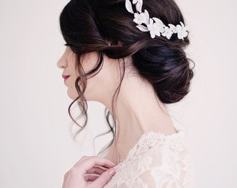 Floral hair comb, flower headpiece, bridal headpiece, wedding accessories - style 2001