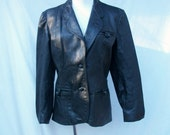 80s Black Leather Jacket Blazer size Small Fitted Leather Jacket