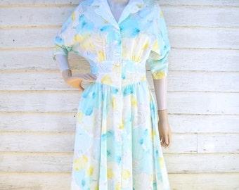 80s Floral Dress size Small Watercolor Pastels Cutout Collar Basque Waist