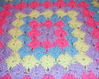 Purple, Dark Pink, Blue and Green Bavarian Baby Blanket