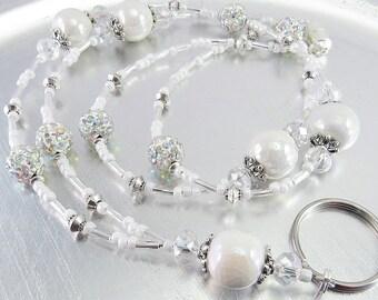 White Luster Ceramic and Crystal Rhinestone Ball Beaded ID Lanyard, Badge Holder, Eyeglass Leash