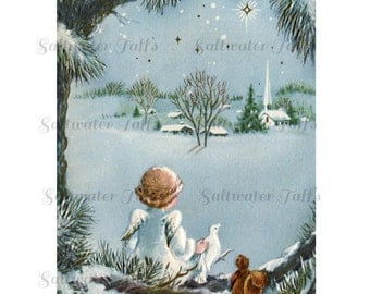 Christmas Angel and Church Card Image Digital Download vintage transfer card holiday xmas  card vintage 1950s religious dove squirrel trees