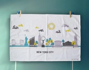 New York City Skyline Tea Towel, Large Cotton Manhattan Dish Cloth