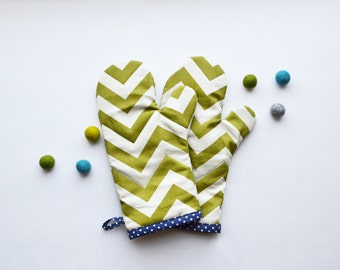 Moss green chevron with navy polka dot oven mitt
