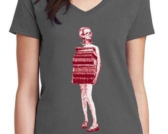 book tshirt - book shirt - womens tshirt - vintage tshirt - book lover - book gift - librarian gift - book worm - JUST BOOKS - sport v neck