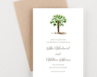 Palm Tree Save The Date, Tropical Wedding Invitation