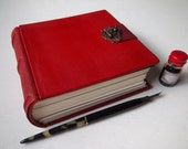 Heirloom Journal with Red Goatskin, metal clasp, multimedia cotton paper, traditional binding