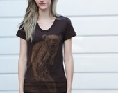 Bear on Mountain Bicycle Ladies American Apparel T Shirt - Short Sleeved Fine Jersey