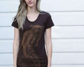 Bear on a Mountain Bike- Womens T Shirt, Ladies Tee, Handmade graphic tee, sizes s-xL