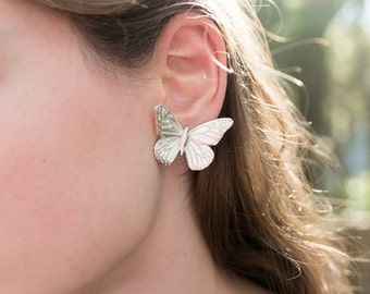 Statement Earrings Silver Butterfly Jewelry Butterflies Sterling Woodland Monarch Butterfly Eccentric Nature Inspired Large Earrings Gift