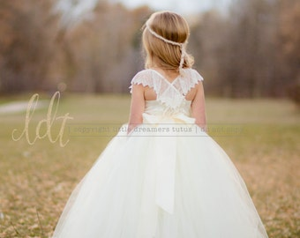 NEW! The Everly Dress in Ivory - Flower Girl Tutu Dress