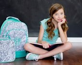 Personalized Paisley Print Girls Backpack and Lunch Bag Combo Set / Parkey Paisley / Green Gray White