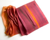 Silk scarf-Desert Sunset/ Ombre silk shawl/ Handpainted scarf in warm ocher to maroon gradation/ Unique handmade scarf/ Mother's Day gift