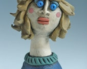 FEMALE SCULPTURE, Female, Woman, Sculpted Figure, Porcelain figure, Clay People, Clay Sculpture, Little People, Blue Female Sculpture