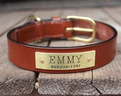 Leather dog collar with name plate - personalized ID tag plate - custom made