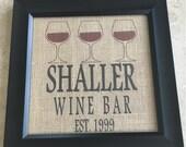 Personalized Burlap Wine Sign, Custom Wine Bar Sign, Burlap, Jute