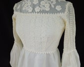 Vintage 1970's BoHo Style Wedding Gown with Embroidery & Pearl Accents