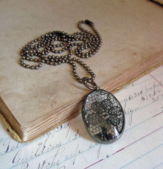 Black Lace Pendant Soldered Glass Jewelry Long Necklace