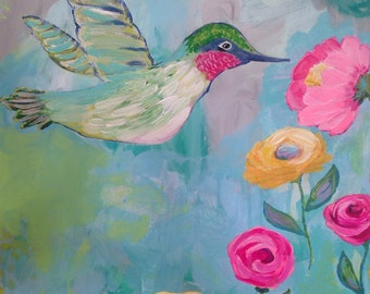 Hummingbird Painting with Flowers, 16x20 Original Painting on Canvas, Pink, Yellow, Blue, Green, Mother's Day Gift