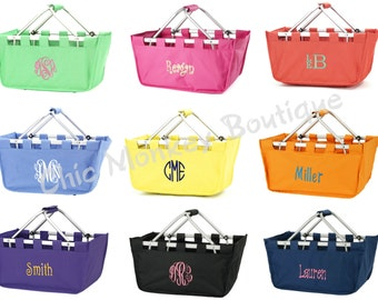 Collapsible Large Market Totes Baskets in 9 Pretty Colors Solids and Prints Bridesmaid Gift...FREE MONOGRAMMING