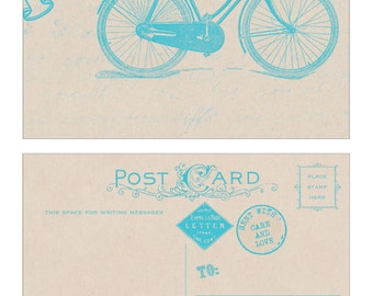 10 Thank You Note - Bicycle Postcard in Blue - Vintage Inspired