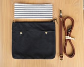 Crossbody Minimalist Waxed Canvas Crossbody Purse in Black, Choose Your Lining Color, Leather Strap, Small Messenger Bag, Cross Body Purse