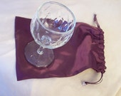 Purple Mazel Tov Grooms Wedding ceremony break glass tradition sateen bag with glass