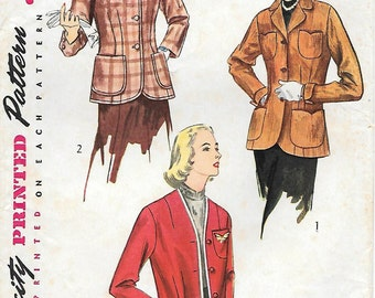 Simplicity 4082 1950s Misses Jackets Blazer Sweater Vintage Sewing Pattern Size 14 Bust 32 Patch Pockets