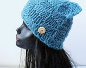 Chunky Cat Hat  - Blue Squares - Winter Fashion Accessory - Small Size