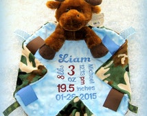 Birth announcement stuffed animal lovey, personalized baby boy blanket, monogrammed moose minky security blanket, camo cubbie, unique gift
