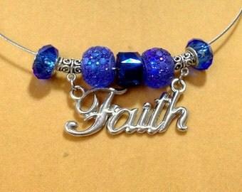 "SALE Pandora Style Blue Charm Necklace w/ Dangling ""Faith"" Necklace / Faith Necklace / Pandora Style Necklace / Blue Necklace /"