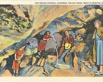 Vintage New Hampshire Postcard - Explorers at Polar Caves in the White Mountains (Unused)