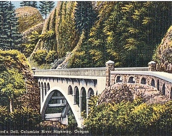 Vintage Oregon Postcard - Shepperd's Dell Bridge on the Columbia River Highway (Unused)