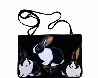 Vegan Three Dutch Rabbits clutch - handpainted, upcyced black faux suede flat ipad kindle notepad purse, shoulder strap - one of a kind